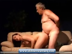 juvenile hotty takes old guy pecker