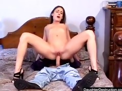 cute juvenile teen daughter screwed hard