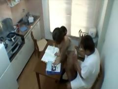 daddy bonks sons gf in kitchen