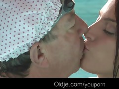 nasty redhead teeny engulf old rod in the pool