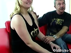 non-professional grand-dad with hot blonde big