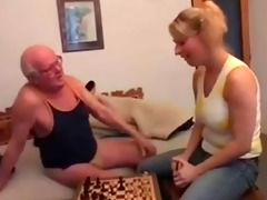 older man plays chess and bonks a youthful girl
