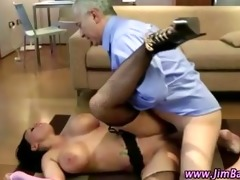 mature lad bonks a sexy younger stocking doxy
