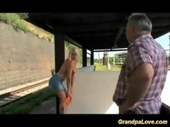 old fellow blackmails cute blond floozy for fuck