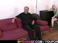 old daddy forces his sons gf suck his ramrod