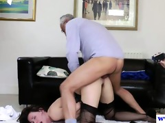 stylish chicks threeway with horny old chap