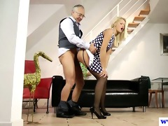 youthful euro slut plays with old mans wang