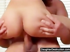 cute youthful teen daughter screwed hard