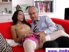 honey in stockings sucks old guy