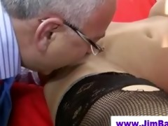 babe in nylons licked by old dude